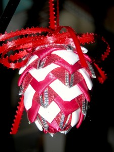 Phyllis Hirsch led the guild in making a holiday ribbon ornament.  What fun!